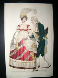 Le Beau Monde 1807 H/Col Regency Fashion Print. Court Dresses for Queen's B'day